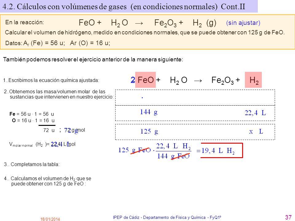 18/01/2014 IPEP de Cádiz - Departamento de Física y Química - FyQ1º 37 En la reacción: FeO + H 2 O Fe 2 O 3 + H 2 (g) (sin ajustar) Calcular el volume