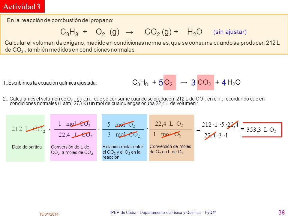 18/01/2014 IPEP de Cádiz - Departamento de Física y Química - FyQ1º 38 En la reacción de combustión del propano: C 3 H 8 + O 2 (g) CO 2 (g) + H 2 O (s