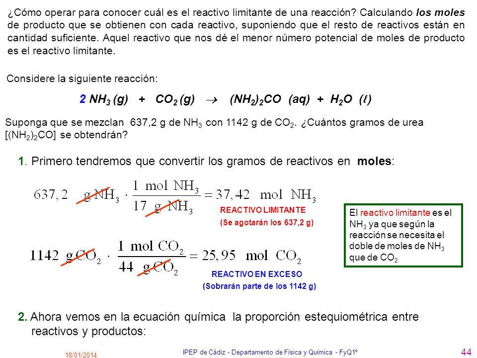 18/01/2014 IPEP de Cádiz - Departamento de Física y Química - FyQ1º 44 ¿Cómo operar para conocer cuál es el reactivo limitante de una reacción? Calcul