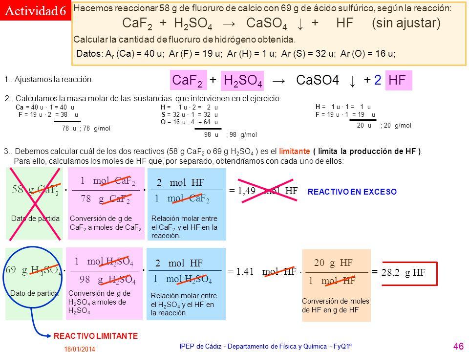 18/01/2014 IPEP de Cádiz - Departamento de Física y Química - FyQ1º 46 18/01/2014 IPEP de Cádiz - Departamento de Física y Química - FyQ1º 46 CaF 2 +