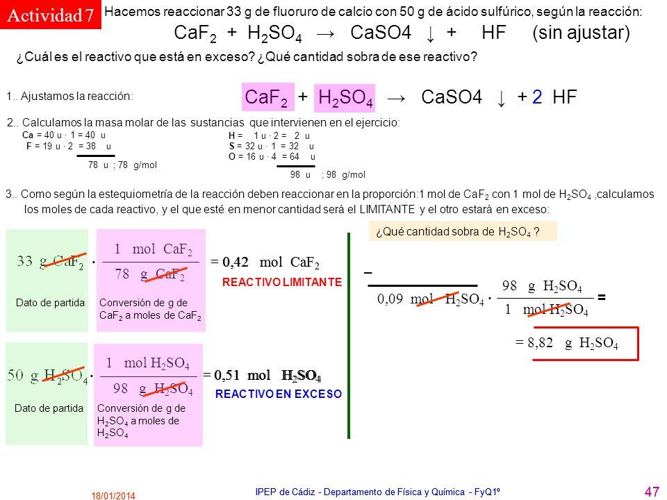 18/01/2014 IPEP de Cádiz - Departamento de Física y Química - FyQ1º 47 18/01/2014 IPEP de Cádiz - Departamento de Física y Química - FyQ1º 47 CaF 2 +