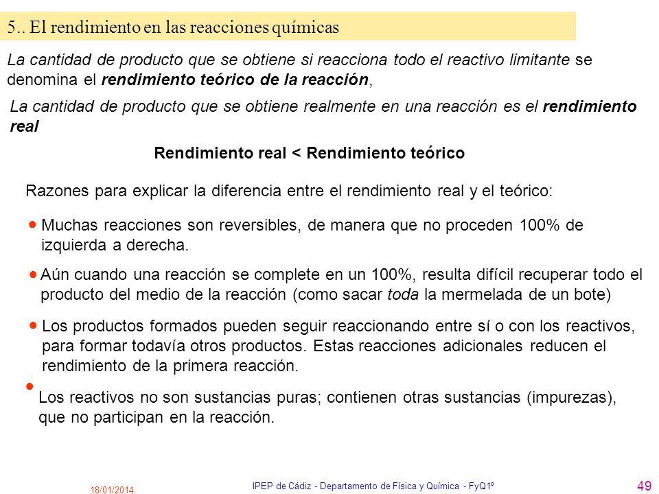 18/01/2014 IPEP de Cádiz - Departamento de Física y Química - FyQ1º 49 5.. El rendimiento en las reacciones químicas La cantidad de producto que se ob