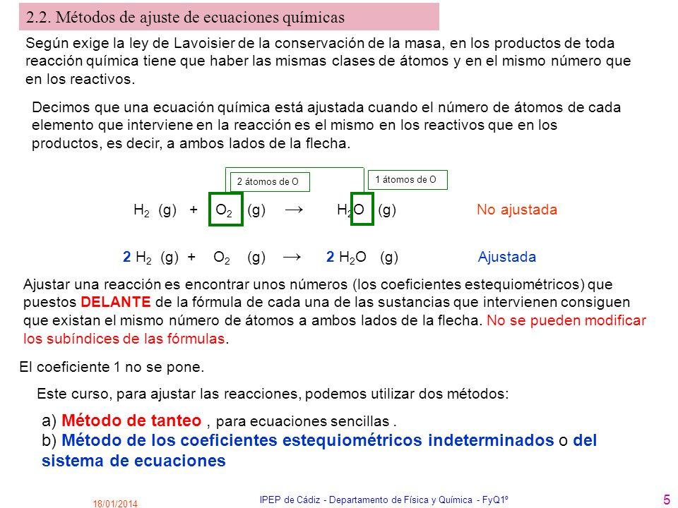 18/01/2014 IPEP de Cádiz - Departamento de Física y Química - FyQ1º 5 2.2. Métodos de ajuste de ecuaciones químicas Decimos que una ecuación química e