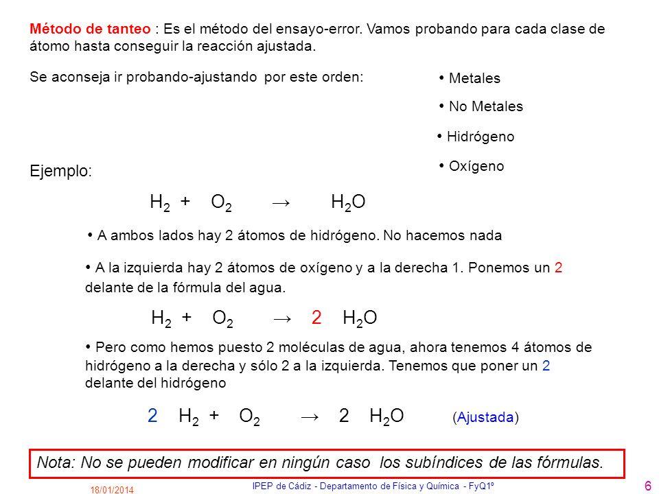 18/01/2014 IPEP de Cádiz - Departamento de Física y Química - FyQ1º 6 Método de tanteo : Es el método del ensayo-error. Vamos probando para cada clase