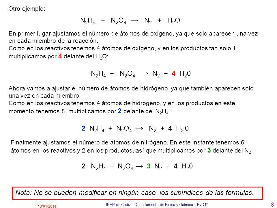 18/01/2014 IPEP de Cádiz - Departamento de Física y Química - FyQ1º 8 En primer lugar ajustamos el número de átomos de oxígeno, ya que solo aparecen u