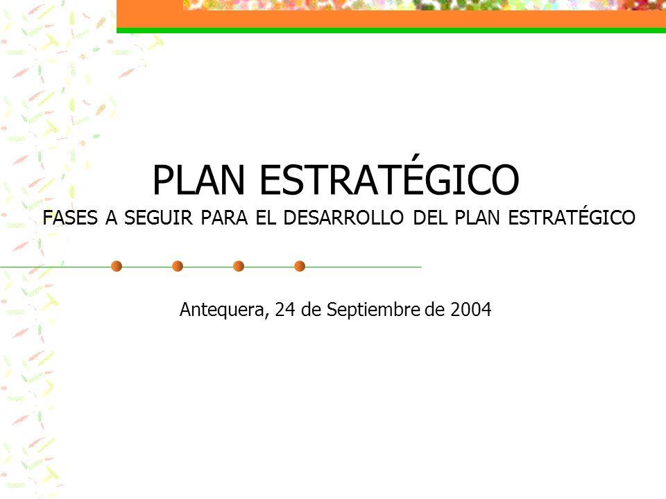 PLAN ESTRATÉGICO FASES A SEGUIR PARA EL DESARROLLO DEL PLAN ESTRATÉGICO Antequera, 24 de Septiembre de 2004