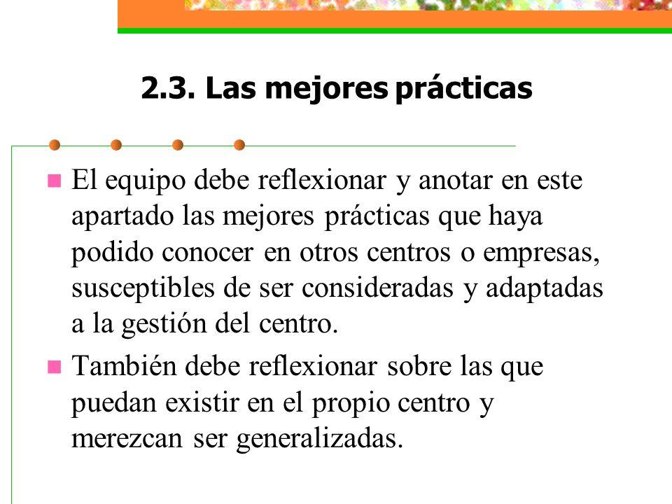 2.3. Las mejores prácticas El equipo debe reflexionar y anotar en este apartado las mejores prácticas que haya podido conocer en otros centros o empre
