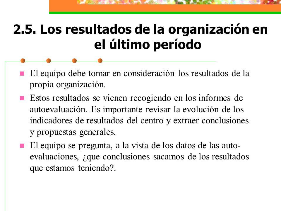 2.5. Los resultados de la organización en el último período El equipo debe tomar en consideración los resultados de la propia organización. Estos resu