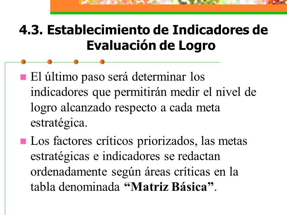4.3. Establecimiento de Indicadores de Evaluación de Logro El último paso será determinar los indicadores que permitirán medir el nivel de logro alcan