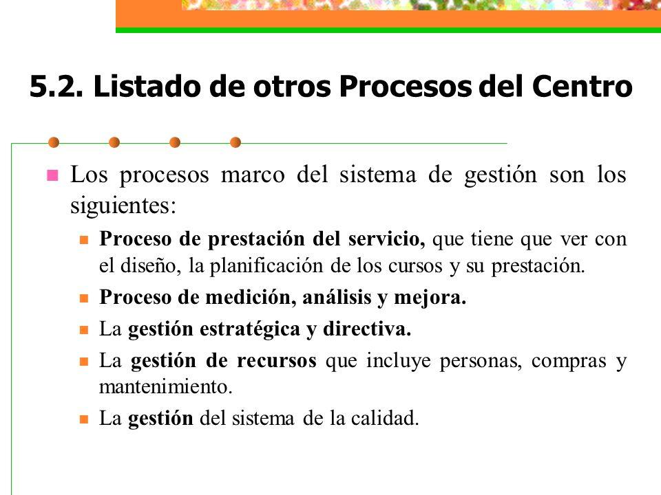 5.2. Listado de otros Procesos del Centro Los procesos marco del sistema de gestión son los siguientes: Proceso de prestación del servicio, que tiene