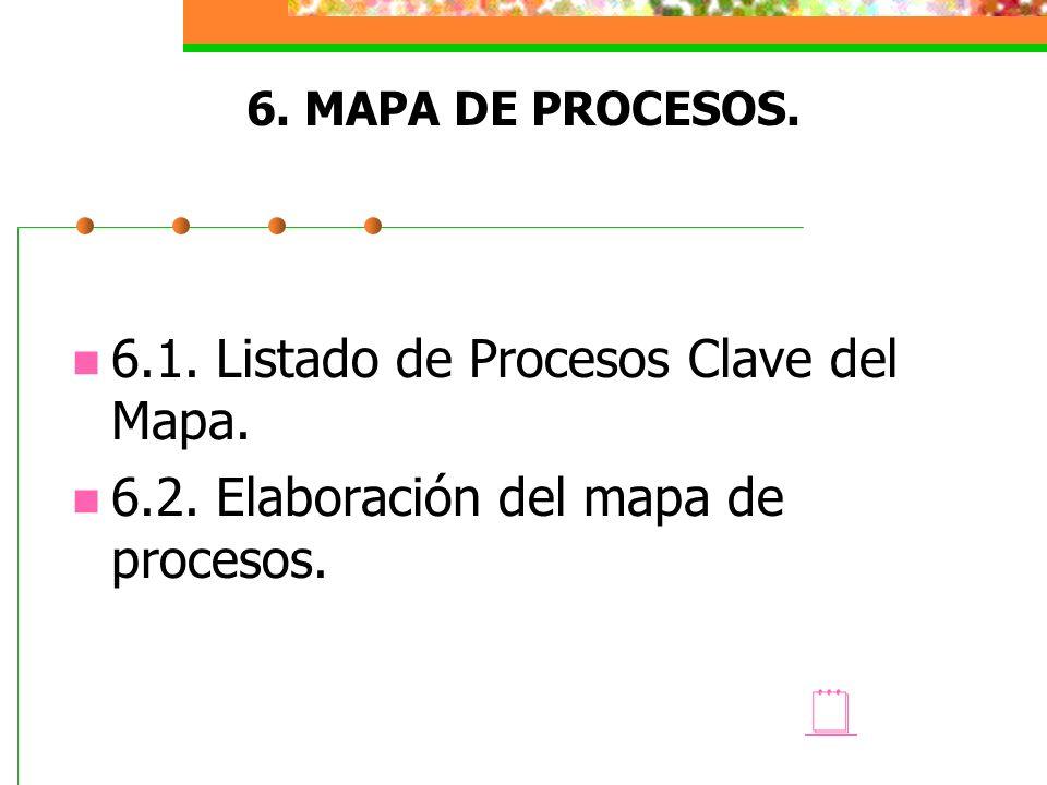 6. MAPA DE PROCESOS. 6.1. Listado de Procesos Clave del Mapa. 6.2. Elaboración del mapa de procesos.