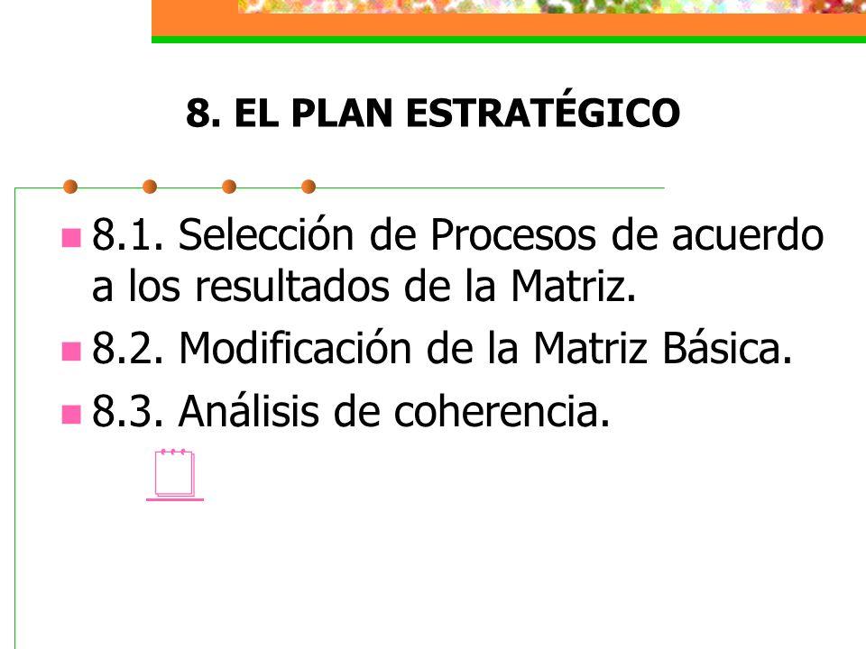 8. EL PLAN ESTRATÉGICO 8.1. Selección de Procesos de acuerdo a los resultados de la Matriz. 8.2. Modificación de la Matriz Básica. 8.3. Análisis de co