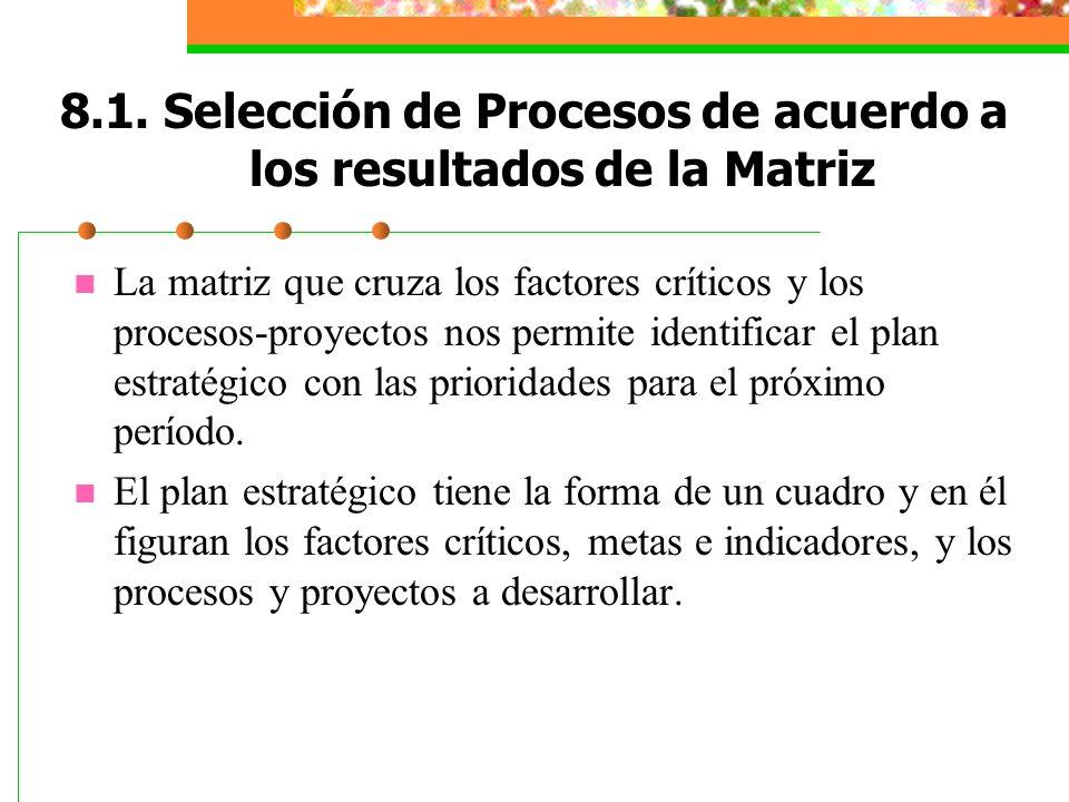 8.1. Selección de Procesos de acuerdo a los resultados de la Matriz La matriz que cruza los factores críticos y los procesos-proyectos nos permite ide