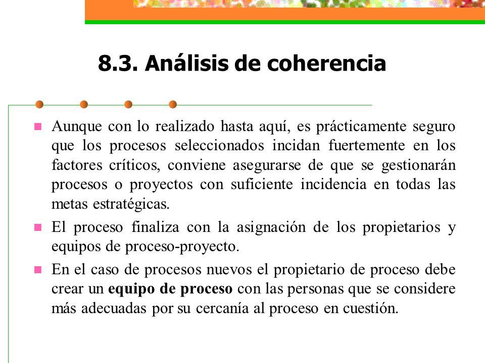 8.3. Análisis de coherencia Aunque con lo realizado hasta aquí, es prácticamente seguro que los procesos seleccionados incidan fuertemente en los fact