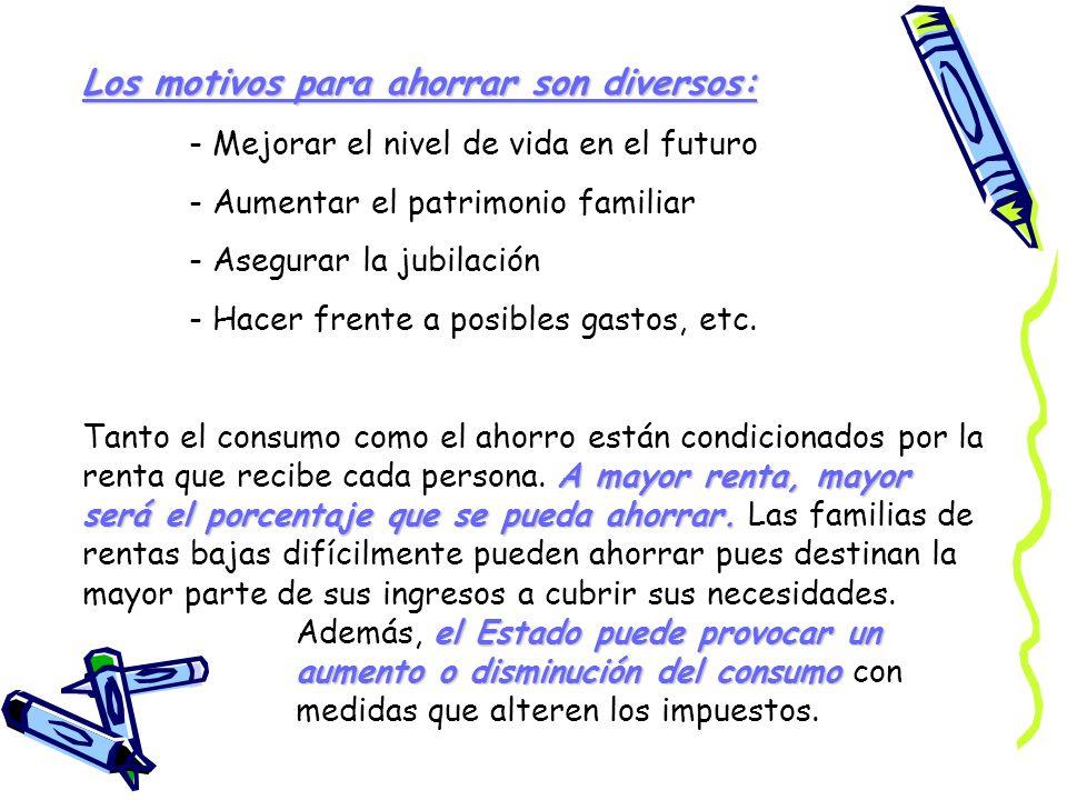 Los motivos para ahorrar son diversos: - Mejorar el nivel de vida en el futuro - Aumentar el patrimonio familiar - Asegurar la jubilación - Hacer fren