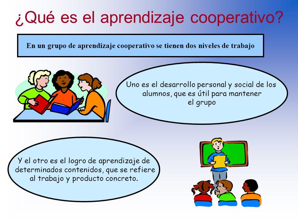 ¿Qué es el aprendizaje cooperativo? LOS ALUMNOS TRABAJAN EN GRUPO NO SOLO PARA DESARROLLAR TAREAS, SINO ADEMAS APRENDEN DEL PROCESO DE APRENDER Grupos