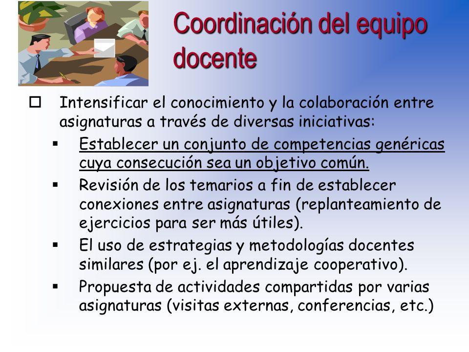 Coordinación del equipo docente oFormación en coordinación y en metodologías. oCreación de un espacio común en Internet para todo el equipo. oAnalizar