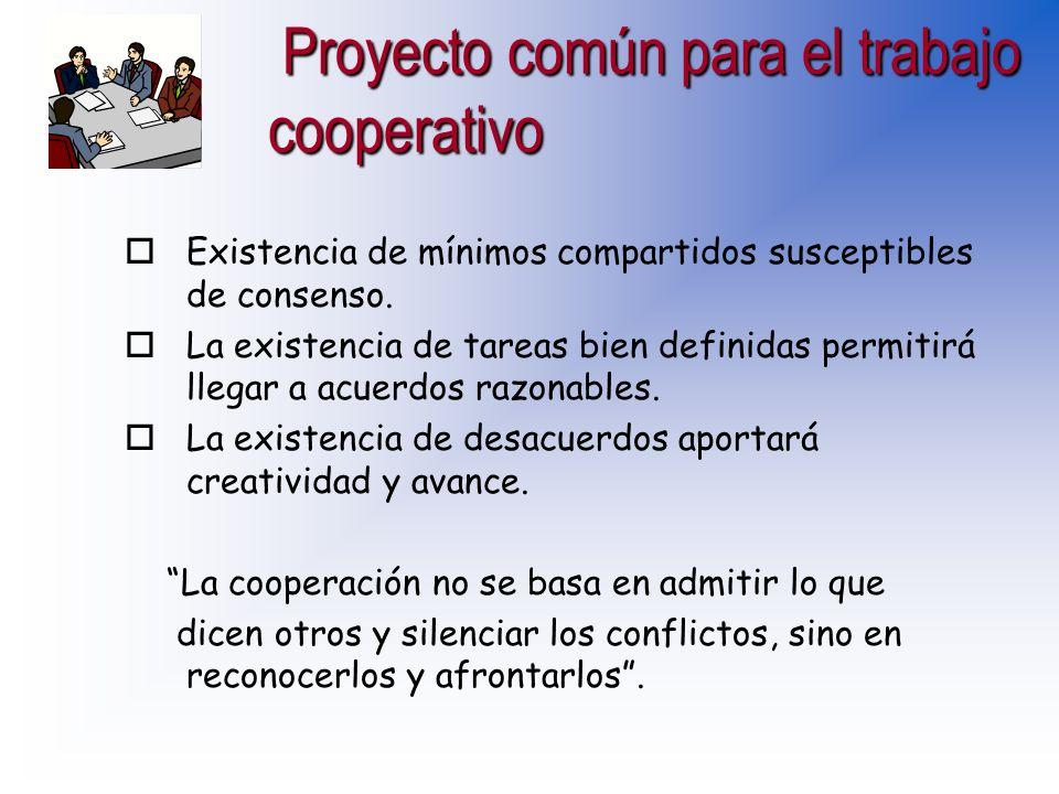 Condiciones para el trabajo cooperativo en el centro (aula) Condiciones para el trabajo cooperativo en el centro (aula) oConocernos: crear un clima de