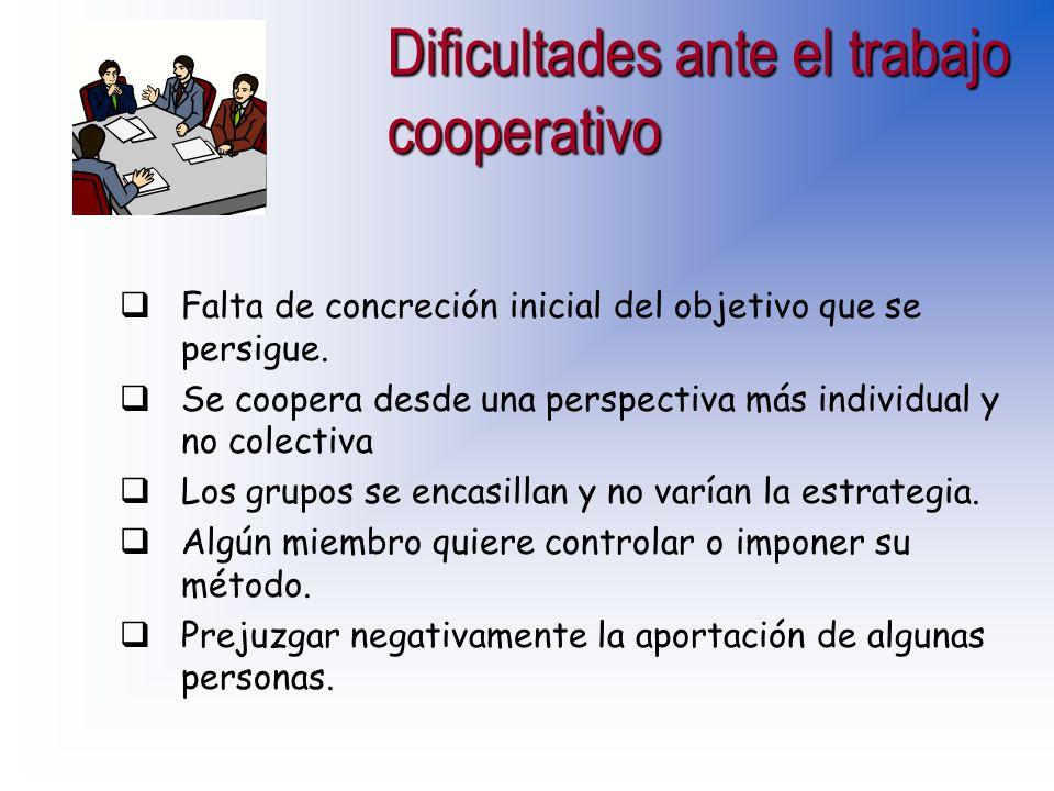 Proyecto común para el trabajo cooperativo Proyecto común para el trabajo cooperativo oExistencia de mínimos compartidos susceptibles de consenso. oLa
