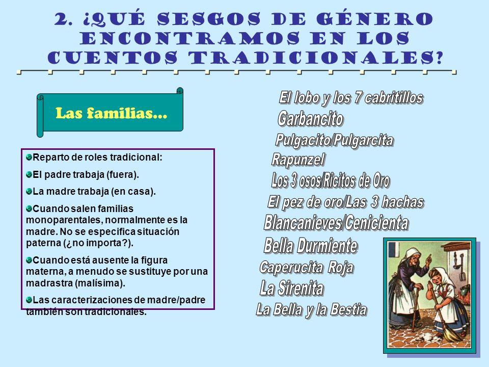 2. ¿qué sesgos de género encontramos en los cuentos tradicionales? Las familias… Reparto de roles tradicional: El padre trabaja (fuera). La madre trab
