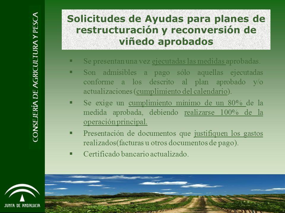 12 Solicitudes de Ayudas para planes de restructuración y reconversión de viñedo aprobados Se presentan una vez ejecutadas las medidas aprobadas.