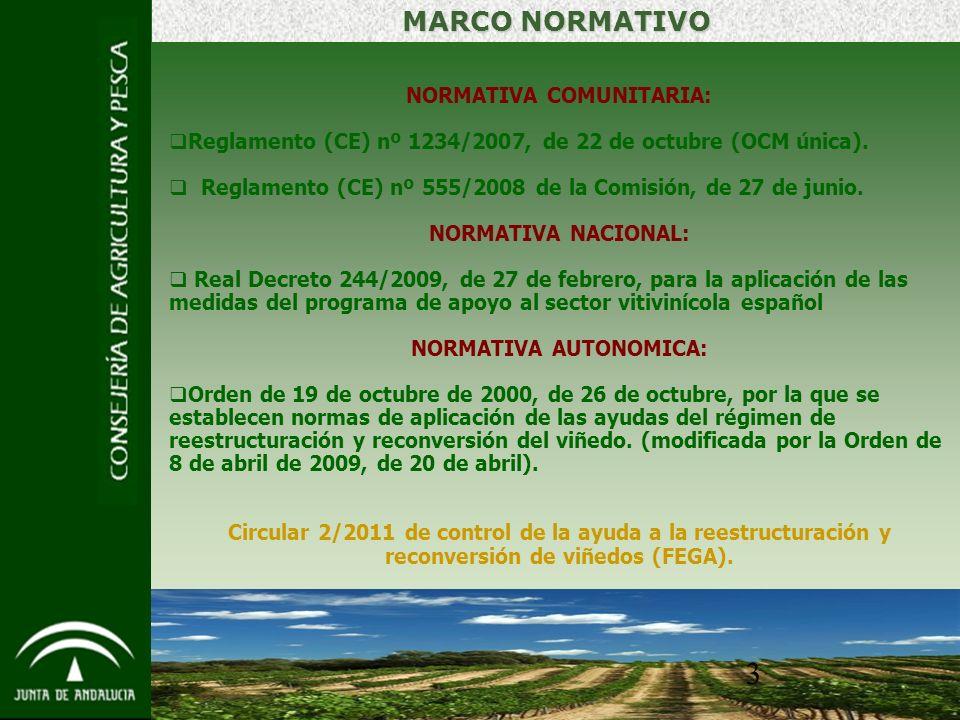 3 MARCO NORMATIVO NORMATIVA COMUNITARIA: Reglamento (CE) nº 1234/2007, de 22 de octubre (OCM única).