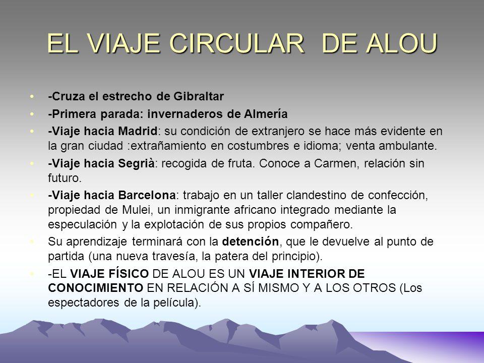 EL VIAJE CIRCULAR DE ALOU -Cruza el estrecho de Gibraltar -Primera parada: invernaderos de Almería -Viaje hacia Madrid: su condición de extranjero se