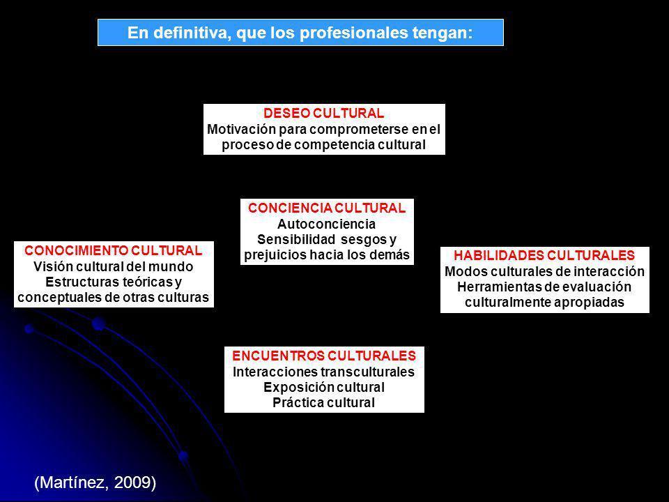 HABILIDADES CULTURALES Modos culturales de interacción Herramientas de evaluación culturalmente apropiadas CONCIENCIA CULTURAL Autoconciencia Sensibilidad sesgos y prejuicios hacia los demás CONOCIMIENTO CULTURAL Visión cultural del mundo Estructuras teóricas y conceptuales de otras culturas ENCUENTROS CULTURALES Interacciones transculturales Exposición cultural Práctica cultural DESEO CULTURAL Motivación para comprometerse en el proceso de competencia cultural (Martínez, 2009) En definitiva, que los profesionales tengan: