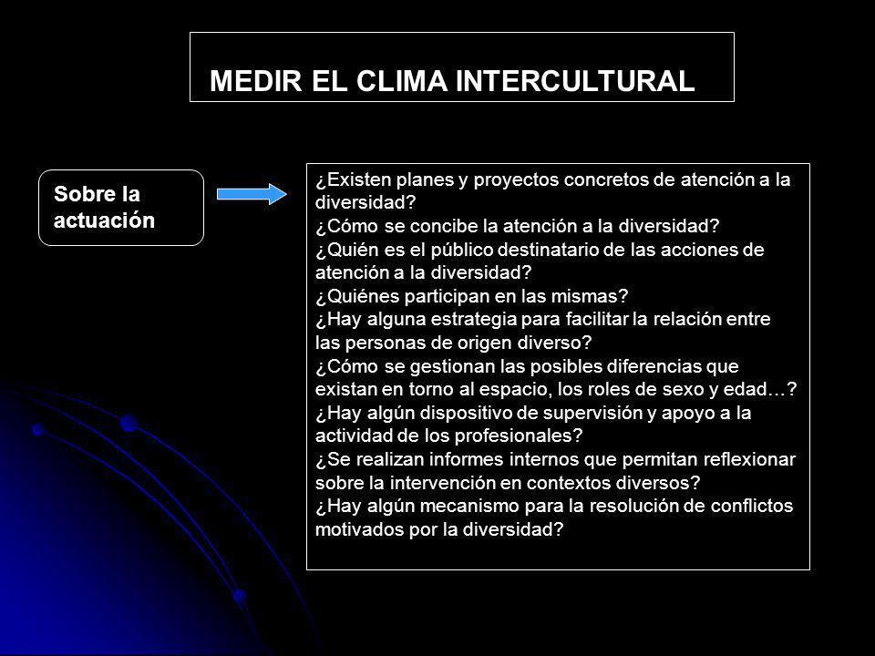 MEDIR EL CLIMA INTERCULTURAL Sobre la actuación ¿Existen planes y proyectos concretos de atención a la diversidad.