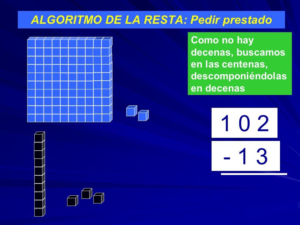 ALGORITMO DE LA RESTA: Pedir prestado 1 0 2 - 1 3 Como no hay decenas, buscamos en las centenas, descomponiéndolas en decenas