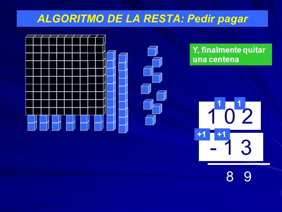 ALGORITMO DE LA RESTA: Pedir pagar 1 0 2 - 1 3 1 9 +1 Y, finalmente quitar una centena 1 +1 8
