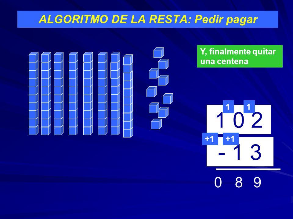 ALGORITMO DE LA RESTA: Pedir pagar 1 0 2 - 1 3 1 9 +1 Y, finalmente quitar una centena 1 +1 80