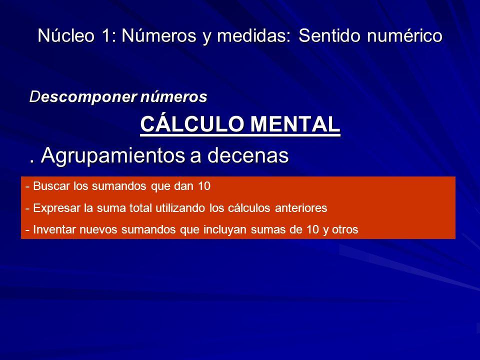 Núcleo 1: Números y medidas: Sentido numérico Descomponer números CÁLCULO MENTAL. Agrupamientos a decenas - Buscar los sumandos que dan 10 - Expresar