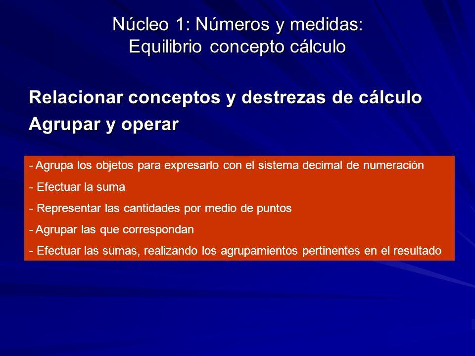 Núcleo 1: Números y medidas: Equilibrio concepto cálculo Relacionar conceptos y destrezas de cálculo Agrupar y operar - Agrupa los objetos para expres