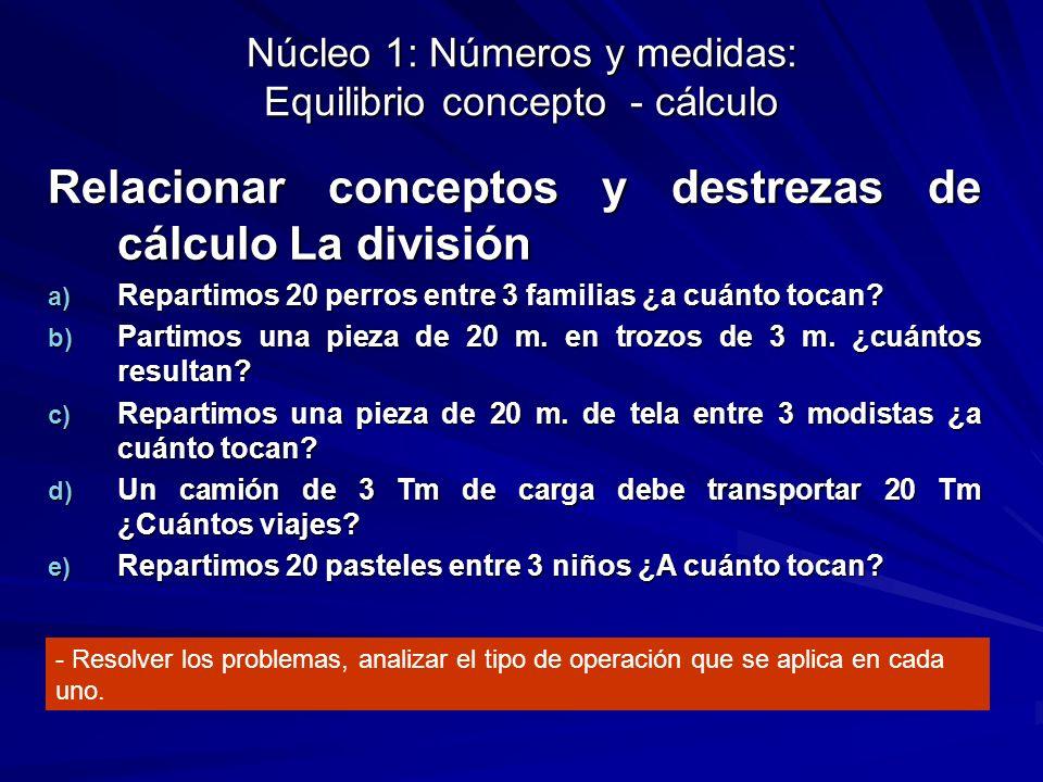 Núcleo 1: Números y medidas: Equilibrio concepto - cálculo Relacionar conceptos y destrezas de cálculo La división a) Repartimos 20 perros entre 3 fam