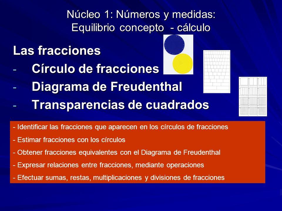 Núcleo 1: Números y medidas: Equilibrio concepto - cálculo Las fracciones - Círculo de fracciones - Diagrama de Freudenthal - Transparencias de cuadra