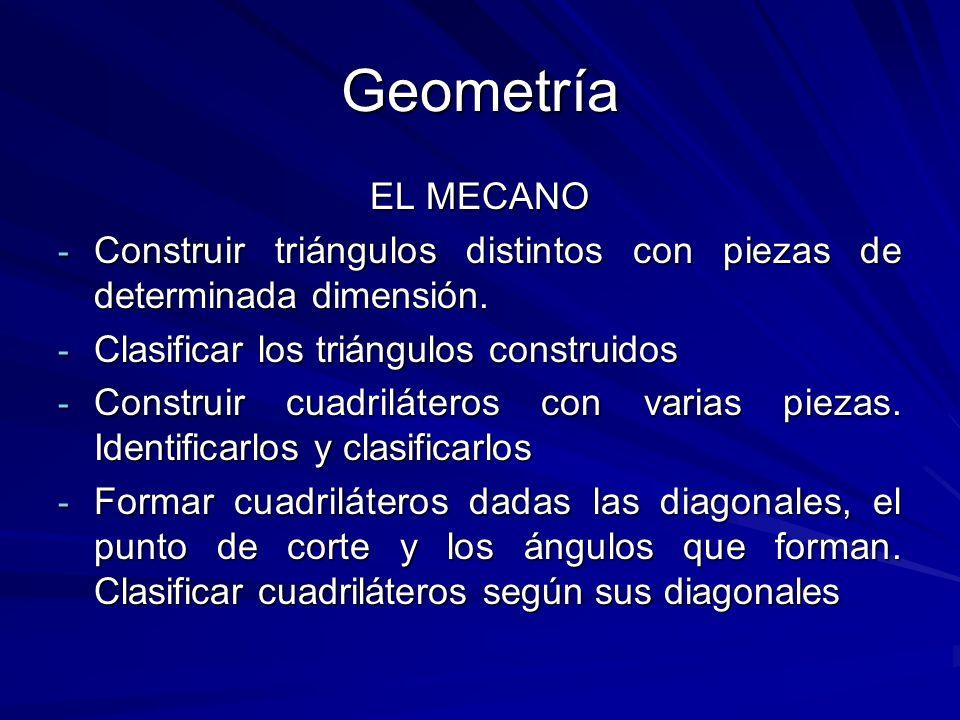 Geometría EL MECANO - Construir triángulos distintos con piezas de determinada dimensión. - Clasificar los triángulos construidos - Construir cuadrilá