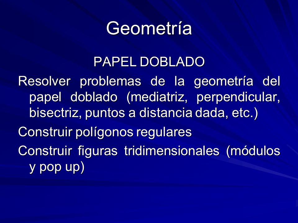 Geometría PAPEL DOBLADO Resolver problemas de la geometría del papel doblado (mediatriz, perpendicular, bisectriz, puntos a distancia dada, etc.) Cons