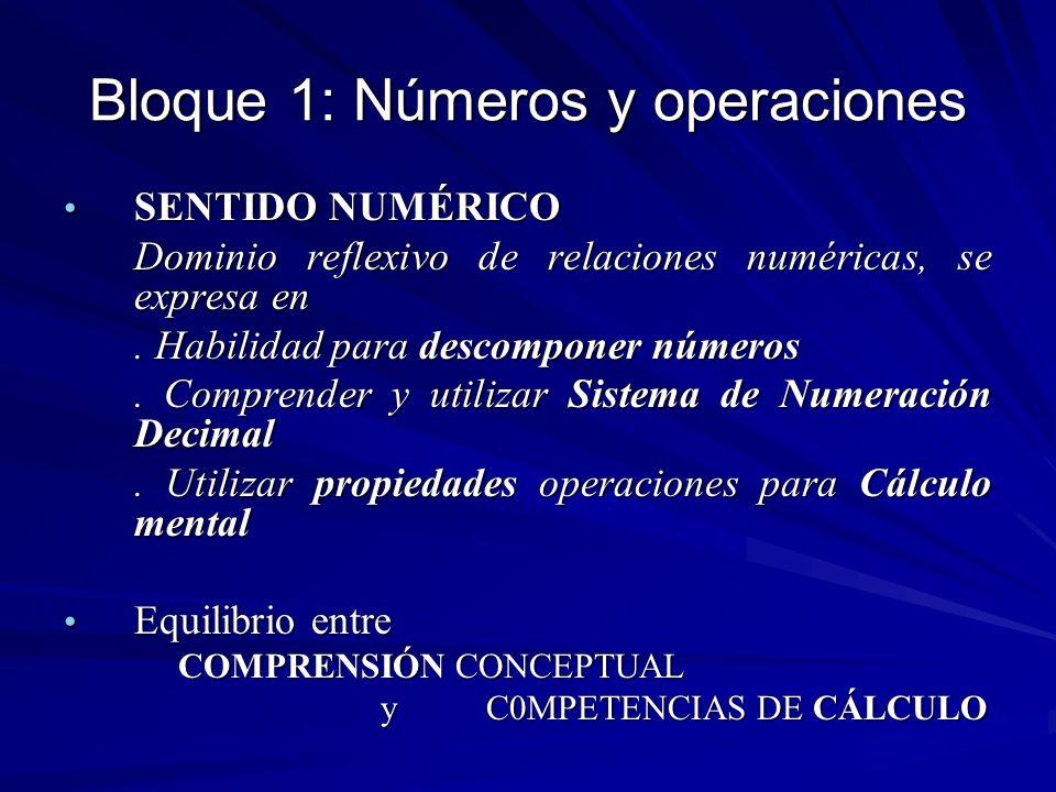 Bloque 1: Números y operaciones SENTIDO NUMÉRICO SENTIDO NUMÉRICO Dominio reflexivo de relaciones numéricas, se expresa en. Habilidad para descomponer