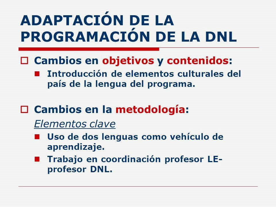 ADAPTACIÓN DE LA PROGRAMACIÓN DE LA DNL Cambios en objetivos y contenidos: Introducción de elementos culturales del país de la lengua del programa. Ca