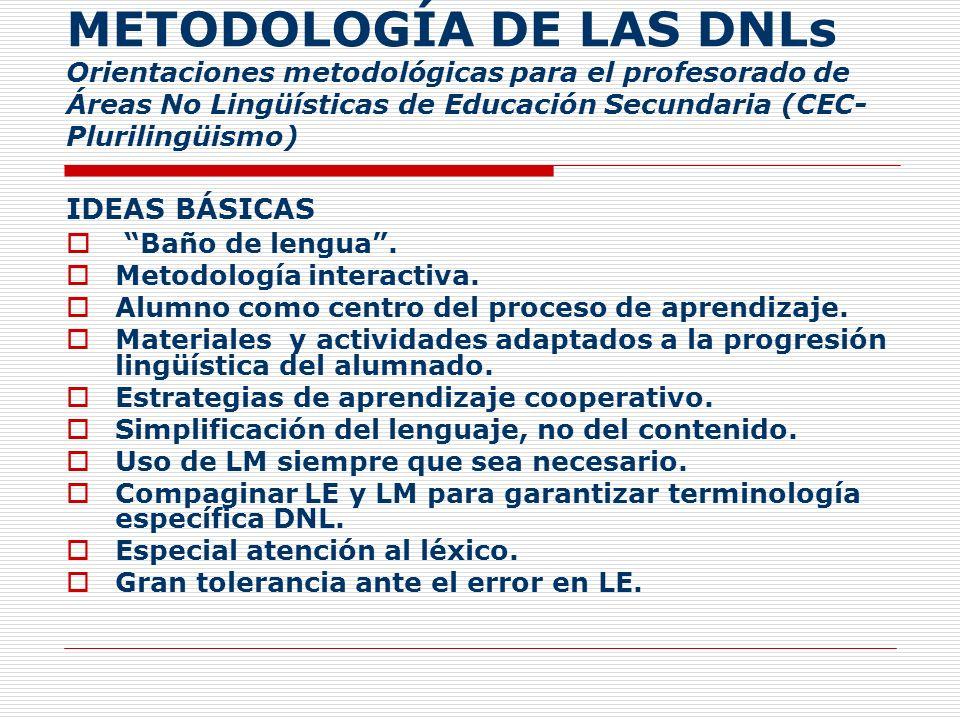 METODOLOGÍA DE LAS DNLs Orientaciones metodológicas para el profesorado de Áreas No Lingüísticas de Educación Secundaria (CEC- Plurilingüismo) IDEAS B