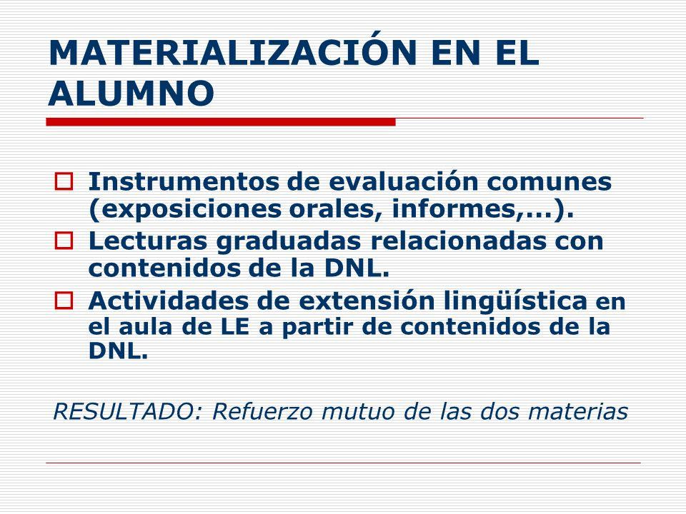 MATERIALIZACIÓN EN EL ALUMNO Instrumentos de evaluación comunes (exposiciones orales, informes,...). Lecturas graduadas relacionadas con contenidos de