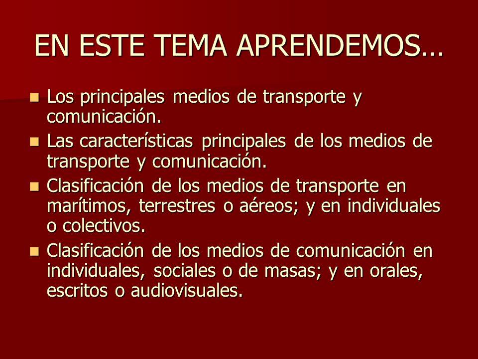 PARTES DE LA UNIDAD Introducción (182-183) Introducción (182-183) El transporte (I) (184-185) El transporte (I) (184-185) El transporte (II) (186-187) El transporte (II) (186-187) La comunicación (188-189) La comunicación (188-189) Actividades de refuerzo y repaso (190- 193) Actividades de refuerzo y repaso (190- 193)