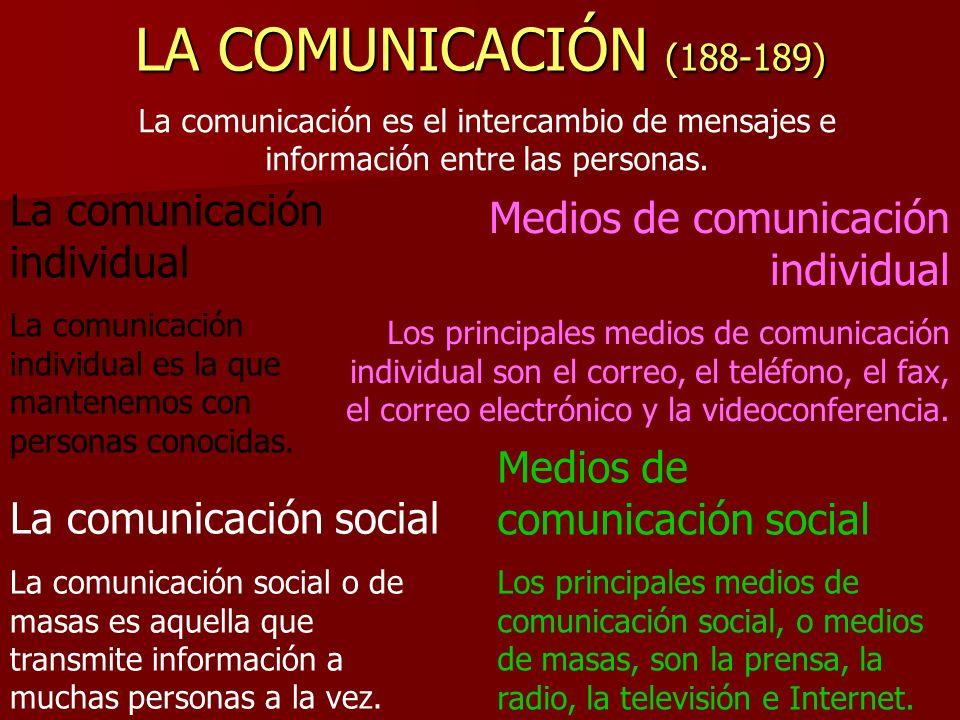 LOS MEDIOS De transporte De comunicación Pueden ser -Aéreos -Marítimos -Terrestres Pueden ser Individuales Sociales o de masas