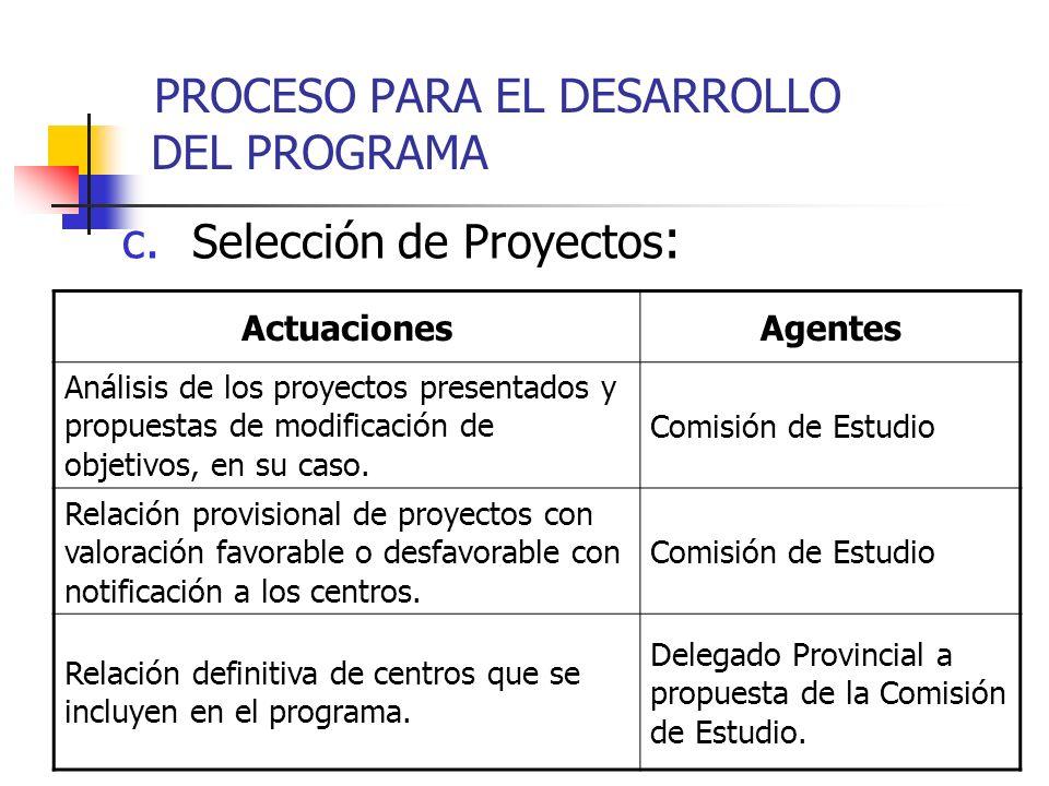 c. Selección de Proyectos : ActuacionesAgentes Análisis de los proyectos presentados y propuestas de modificación de objetivos, en su caso. Comisión d