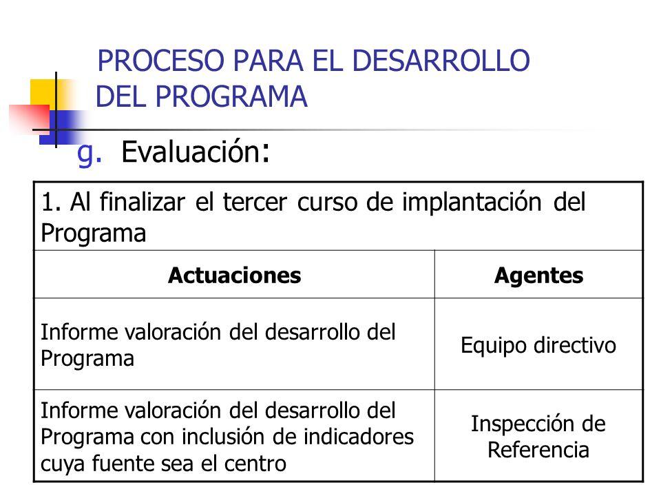 g. Evaluación : 1. Al finalizar el tercer curso de implantación del Programa ActuacionesAgentes Informe valoración del desarrollo del Programa Equipo