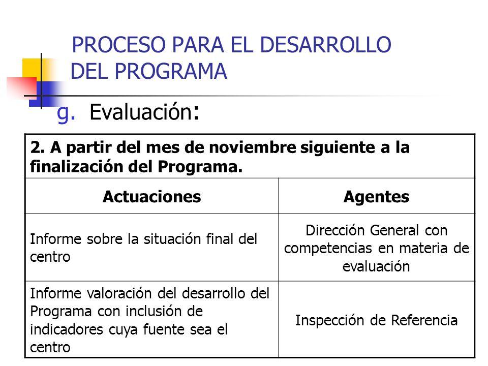 g. Evaluación : 2. A partir del mes de noviembre siguiente a la finalización del Programa. ActuacionesAgentes Informe sobre la situación final del cen