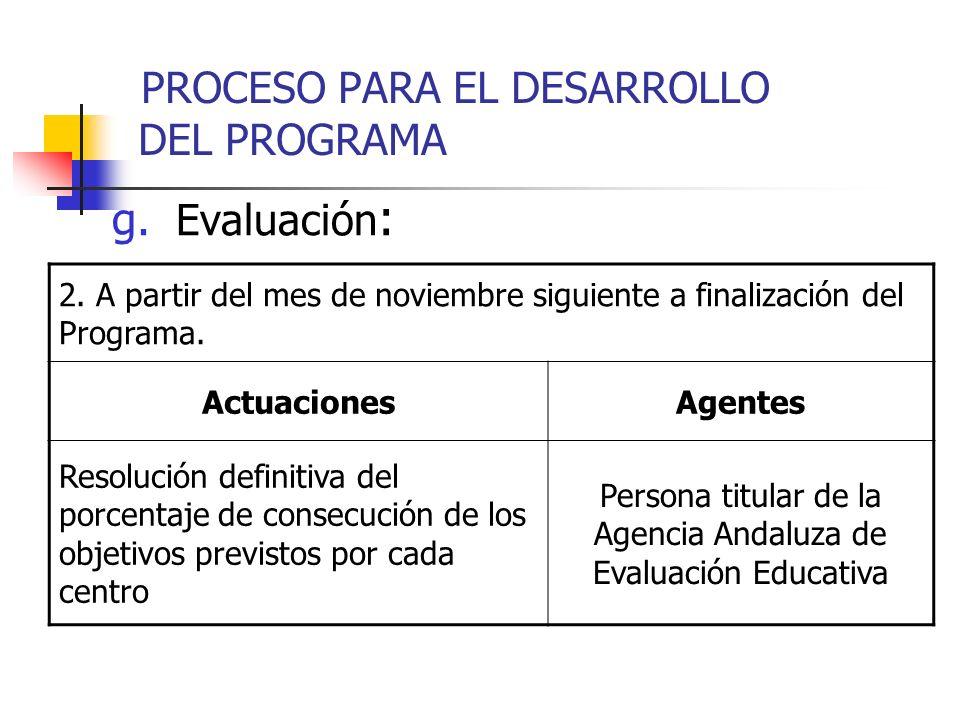 g. Evaluación : 2. A partir del mes de noviembre siguiente a finalización del Programa. ActuacionesAgentes Resolución definitiva del porcentaje de con