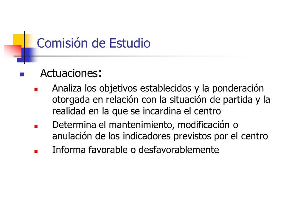 Comisión de Estudio Actuaciones : Analiza los objetivos establecidos y la ponderación otorgada en relación con la situación de partida y la realidad e