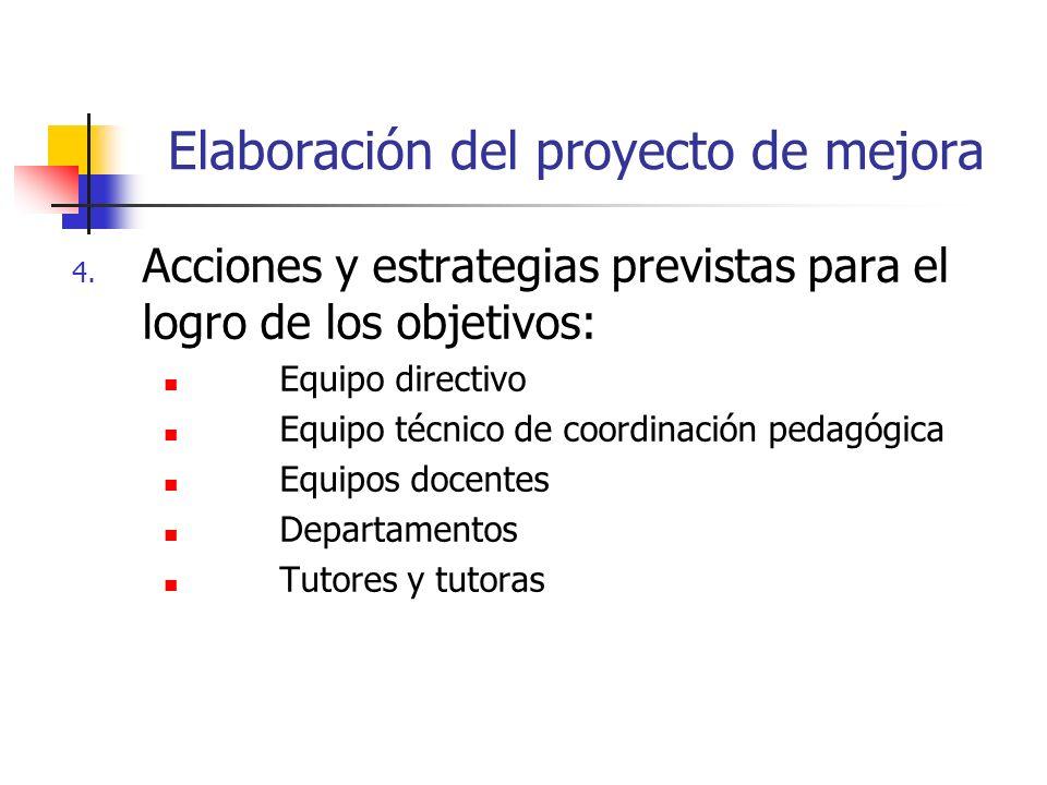 Elaboración del proyecto de mejora 4. Acciones y estrategias previstas para el logro de los objetivos: Equipo directivo Equipo técnico de coordinación